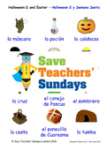 Halloween and Easter in Spanish Worksheets, Games, Activities and Flash Cards