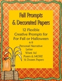 Fall or Halloween Creative Writing Prompts plus Decorated Papers 4-9