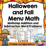 Halloween and Fall Math: Multistep Addition and Subtraction Word Problem Menus