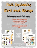 Halloween and Fall Syllables Sort Station and Syllable Bingo Game (PreK-2)