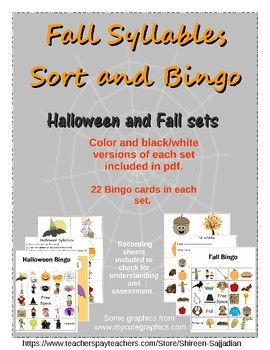 Halloween and Fall Syllables Sort Station and Syllable Bingo Game (PreK-2)