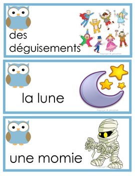 Halloween and Fall Words French Immersion Flash Cards