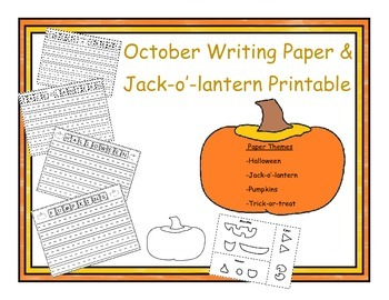 Halloween and Pumpkin Writing Paper with Jack-O`-Lantern Printable Project