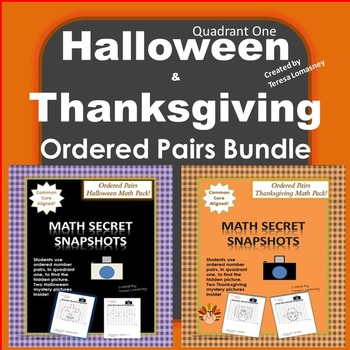 Halloween & Thanksgiving Ordered Pairs Quadrant 1 Bat, Pumpkin, Pilgrim, Turkey