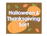 Halloween and Thanksgiving Sort