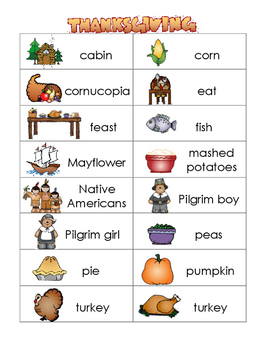 Halloween and Thanksgiving picture dictionary