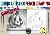 Halloween artistic drawing bilingual Dibujo artístico lápiz pencil shadow