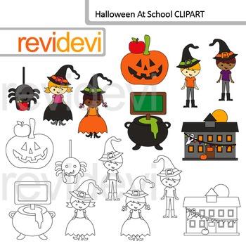 Halloween at school clip art