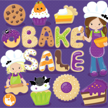 Halloween bake sale clipart commercial use, vector graphics, digital  - CL1025