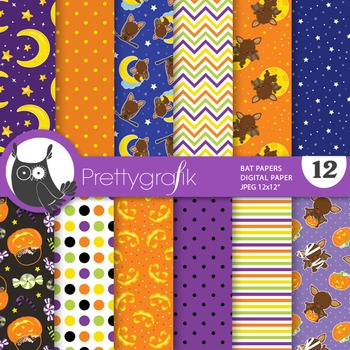 Halloween bat papers, commercial use, scrapbook papers - PS750