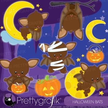 Halloween bats clipart commercial use, graphics, digital clip art - CL910