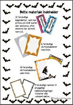 Halloween - bogmærker og skriveskabeloner