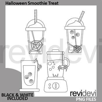 Halloween bundle clip art (camper caravan, smoothie drinks, ribbons)