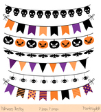 Halloween bunting clip art, Halloween banner clipart, Digital flag images