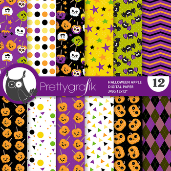 Halloween candy apple papers, commercial use, scrapbook papers, pattern - PS955