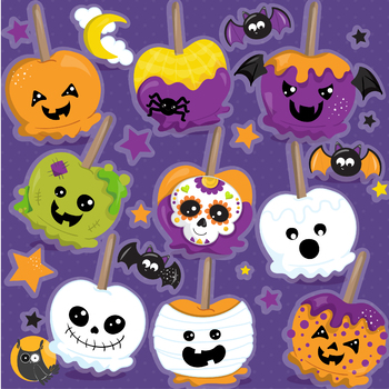 Halloween candy apples clipart commercial use, graphics, digital  - CL1185