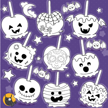 Halloween candy apples stamps commercial use, vector graphics, images  - DS1185