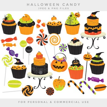 Halloween candy clip art - sweets clipart cupcakes cakes lollipops candy canes