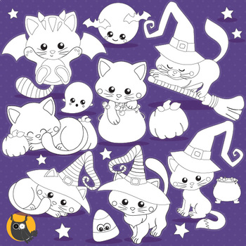 Halloween cat stamps,  commercial use, vector graphics, images  - DS1105