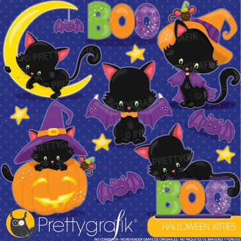 Halloween cats clipart commercial use, graphics, digital c