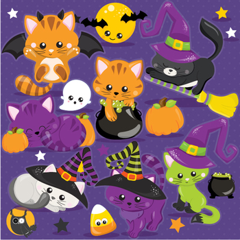 Halloween cats clipart commercial use, vector graphics  - CL1105