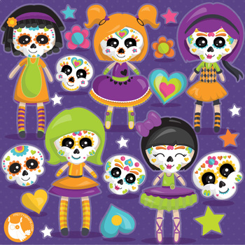 Halloween sugar skull dolls clipart commercial use, vector graphics  - CL1112