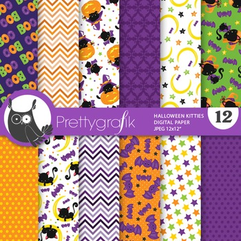 Halloween cats papers, commercial use, scrapbook papers - PS753