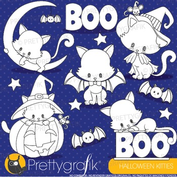 Halloween cats stamps commercial use, vector graphics, images - DS913