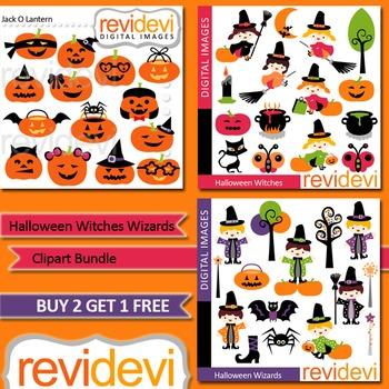 Halloween clip art (3 packs) - Cute witch, wizard, jack o lantern pumpkins