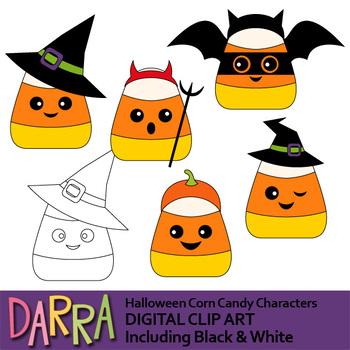 Halloween clip art (Halloween corn candy characters clipart)