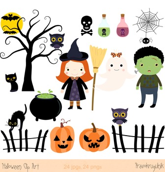 Halloween clip art, Halloween witch clipart, Spooky clip art, Ghost, Black cat
