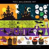 Halloween clip art - haunted house clipart jack o'lanterns pumpkins witch