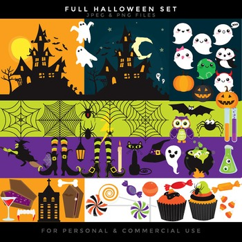 Halloween clip art - haunted house clipart jack o'lanterns pumpkins witch