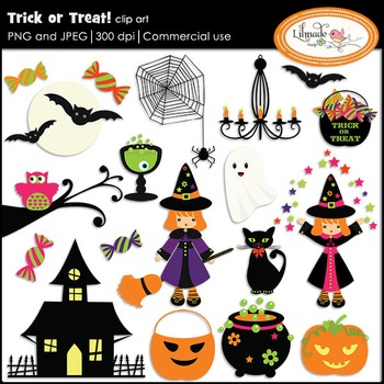 Halloween clip art, trick or treat