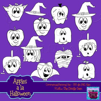 Halloween clipart (Apples)