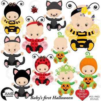 Halloween clipart, Baby's Halloween, Pumpkin and Black Cat Clipart AMB-2265