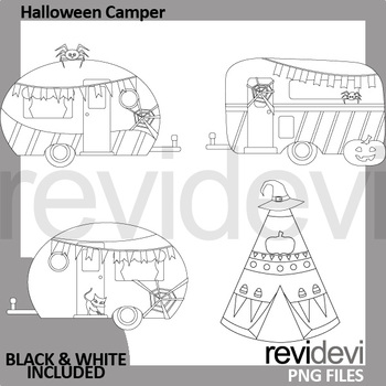 Halloween clipart / Camping camper caravan and teepee tent clip art