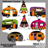 Halloween clipart / Camping camper caravan and teepee tent