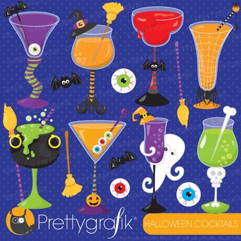 Halloween cocktails clipart commercial use, vector graphics, digital - CL717