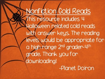Halloween cold reads with answer key.  Bats, pumpkins, and black cats