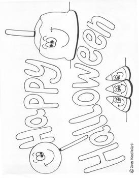 Halloween coloring page bundle