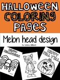 Halloween coloring pages-sheets (melon head Kids) Hallowee