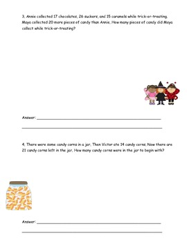 Halloween contextual problem-solving story problems