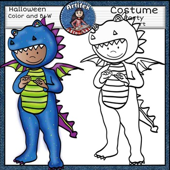 Halloween: costume party clip art-Color and B&W-