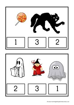 Halloween count and clip cards for preschool / prek