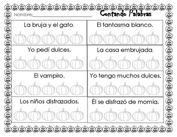 Halloween counting words. Contando palabras en una oracion.