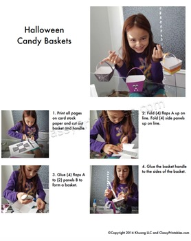 Halloween crafts activities treat/crayon baskets FREE fact sheet coloring pages
