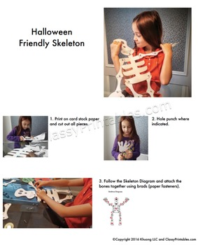 Printable friendly skeleton crafts for kids FREE fact sheet coloring pages
