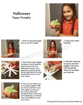 Halloween crafts activities paper pumpkins FREE fact sheet coloring pages