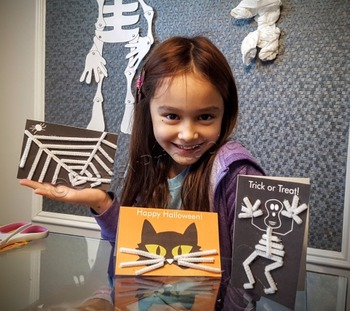 Halloween crafts make your own cards and FREE fact sheet coloring pages